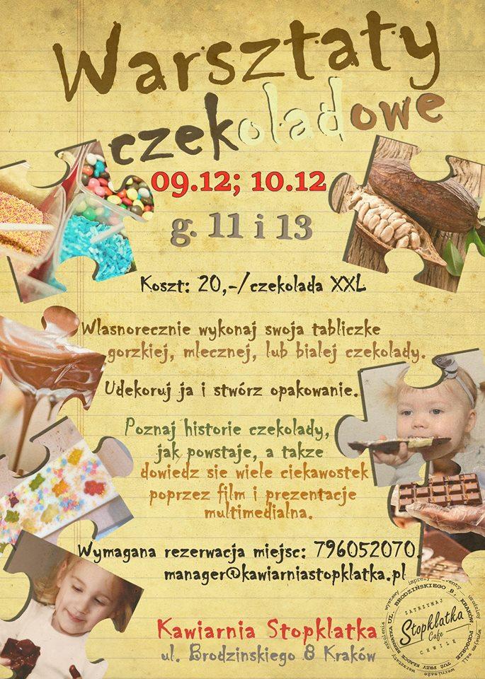 Zimowe warsztaty czekoladowe w Kawiarni Stopklatka przy Kładce Bernatka