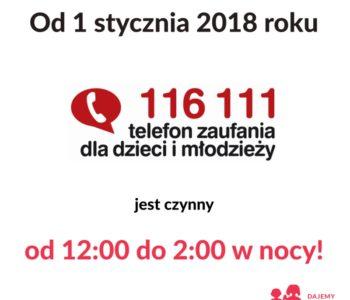 Telefon Zaufania dla Dzieci i Młodzieży 116 111 – teraz także nocą