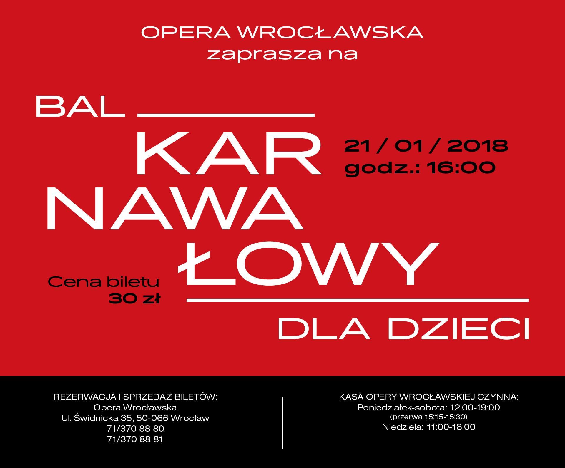 Bal Karnawałowy dla dzieci w Operze Wrocławskiej