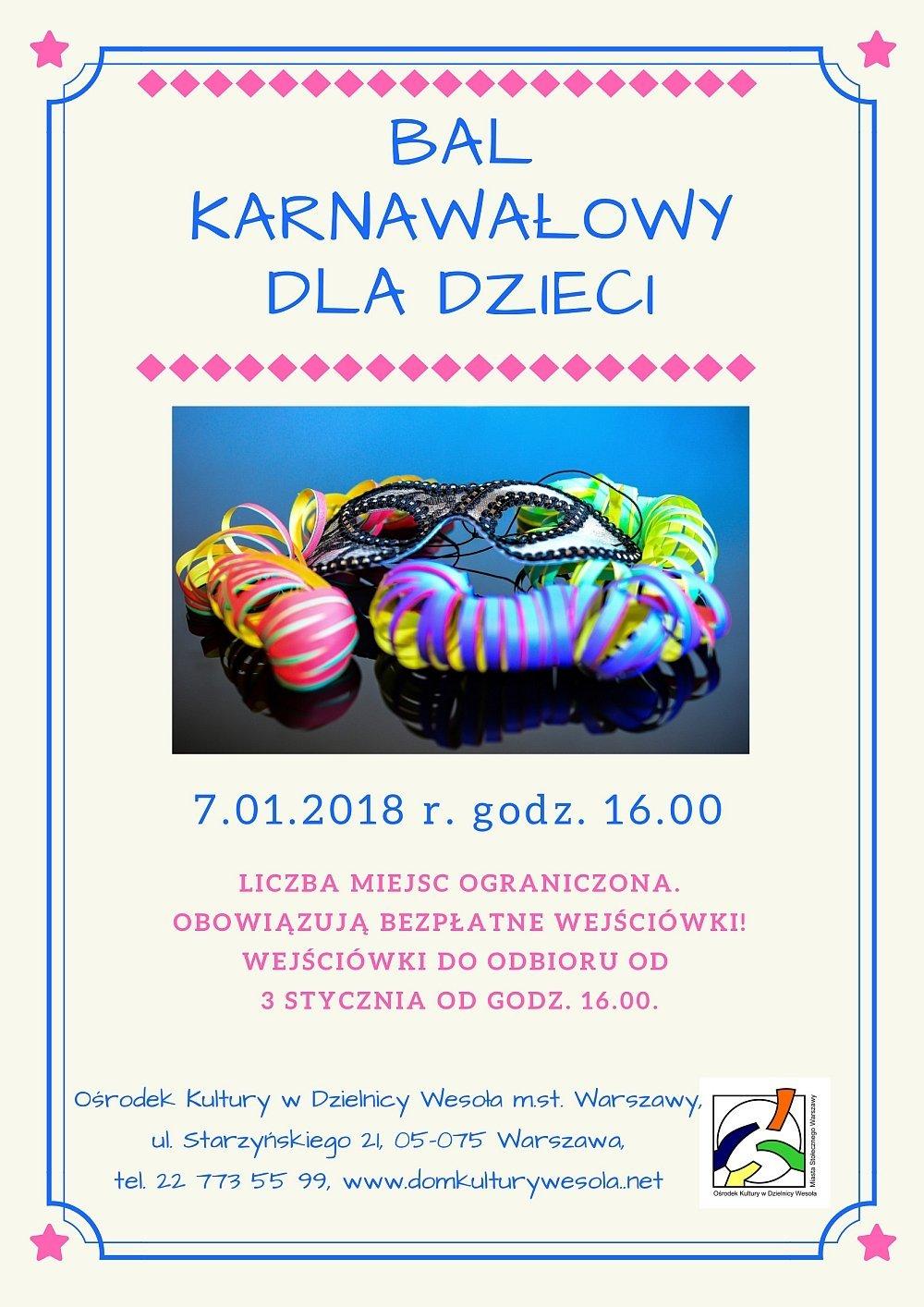 Bal karnawałowy dla dzieci pt. Podróż na Baśniowym Okręcie