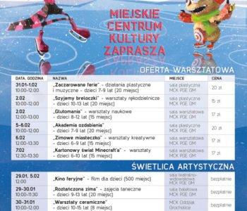 Ferie i Świetlica Artystyczna – zimowe zajęcia oraz warsztaty dla dzieci w Miejskim Centrum Kultury – Bełchatów. Zapisy