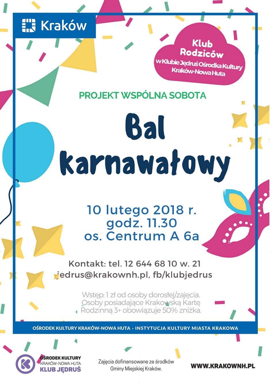 Wydarzenia dla rodzin w Klubach Ośrodka Kultury Kraków-Nowa Huta. Klub rodziców i bal karnawałowy