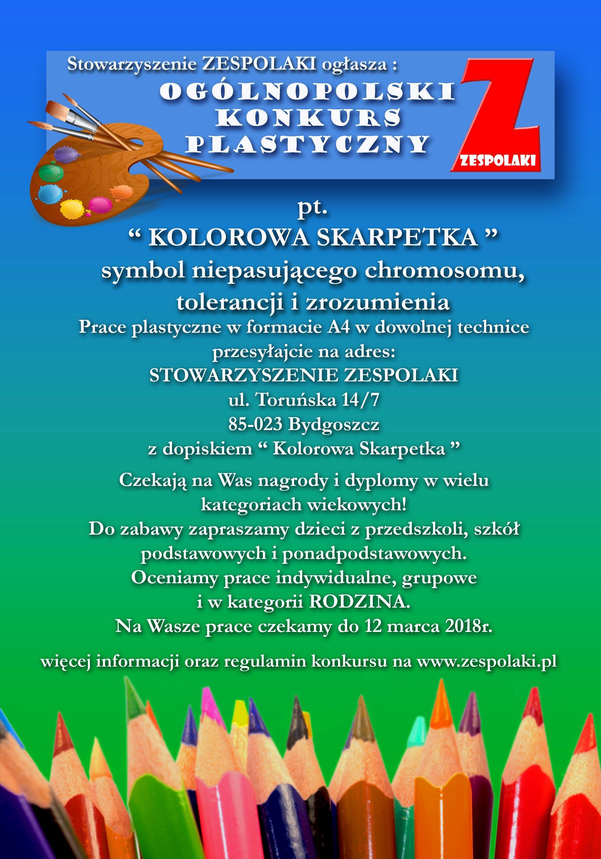 Ogólnopolski Konkurs Plastyczny. Kolorowa skarpetka – symbol niepasującego chromosomu, tolerancji i zrozumienia