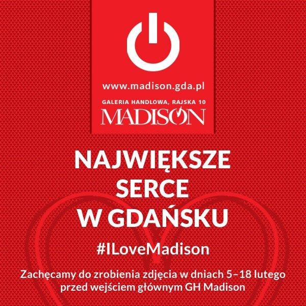 Największe walentynkowe serce w Gdańsku przed Galerią Madison