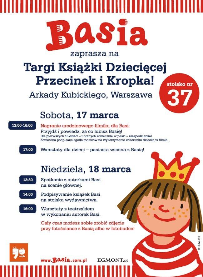 Basia zaprasza na Targi Książki Dziecięcej Przecinek i Kropka
