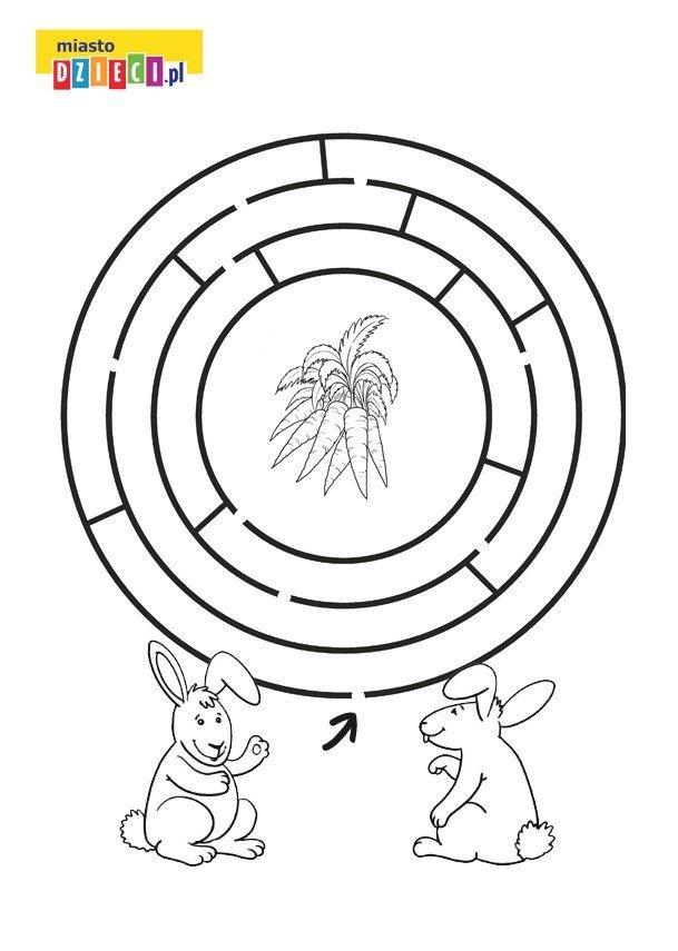 Wielkanocny labirynt z królikiem, kolorowanka do druku