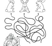 Labirynt z króliczkami wielkanocnymi do druku