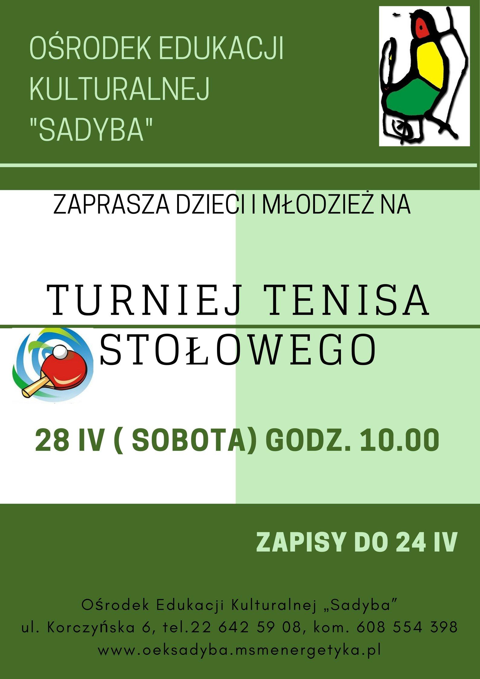 Turniej tenisa stołowego dla dzieci i młodzieży w Warszawie