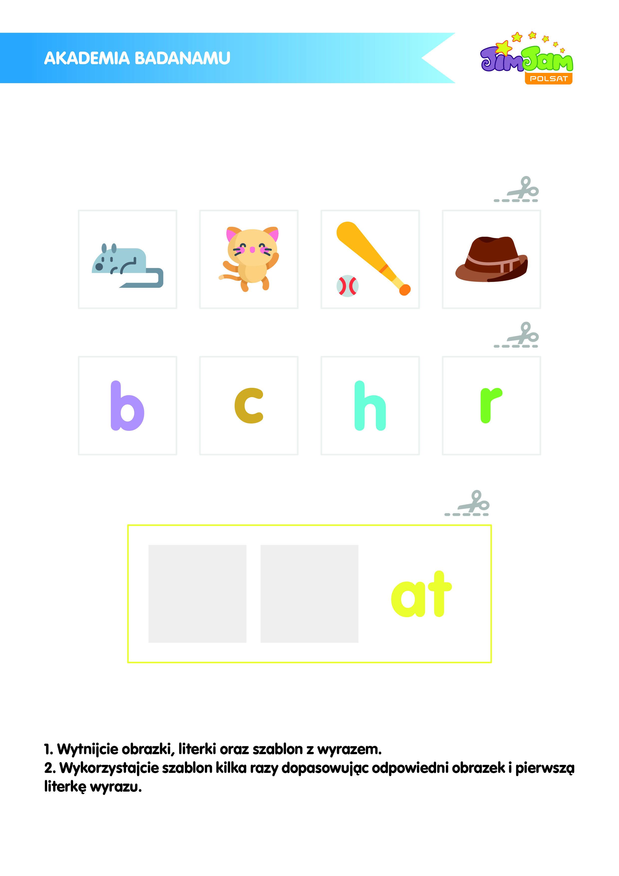 Szablony z literkami i obrazkami do nauki j. angielskiego z serialu Badanamu