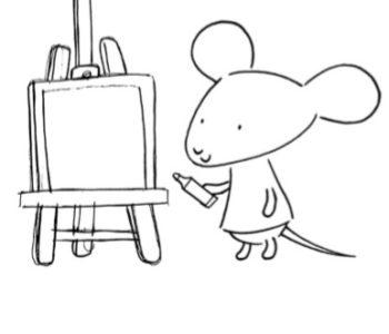 myszka w paski kolorowanka dla dzieci do druku