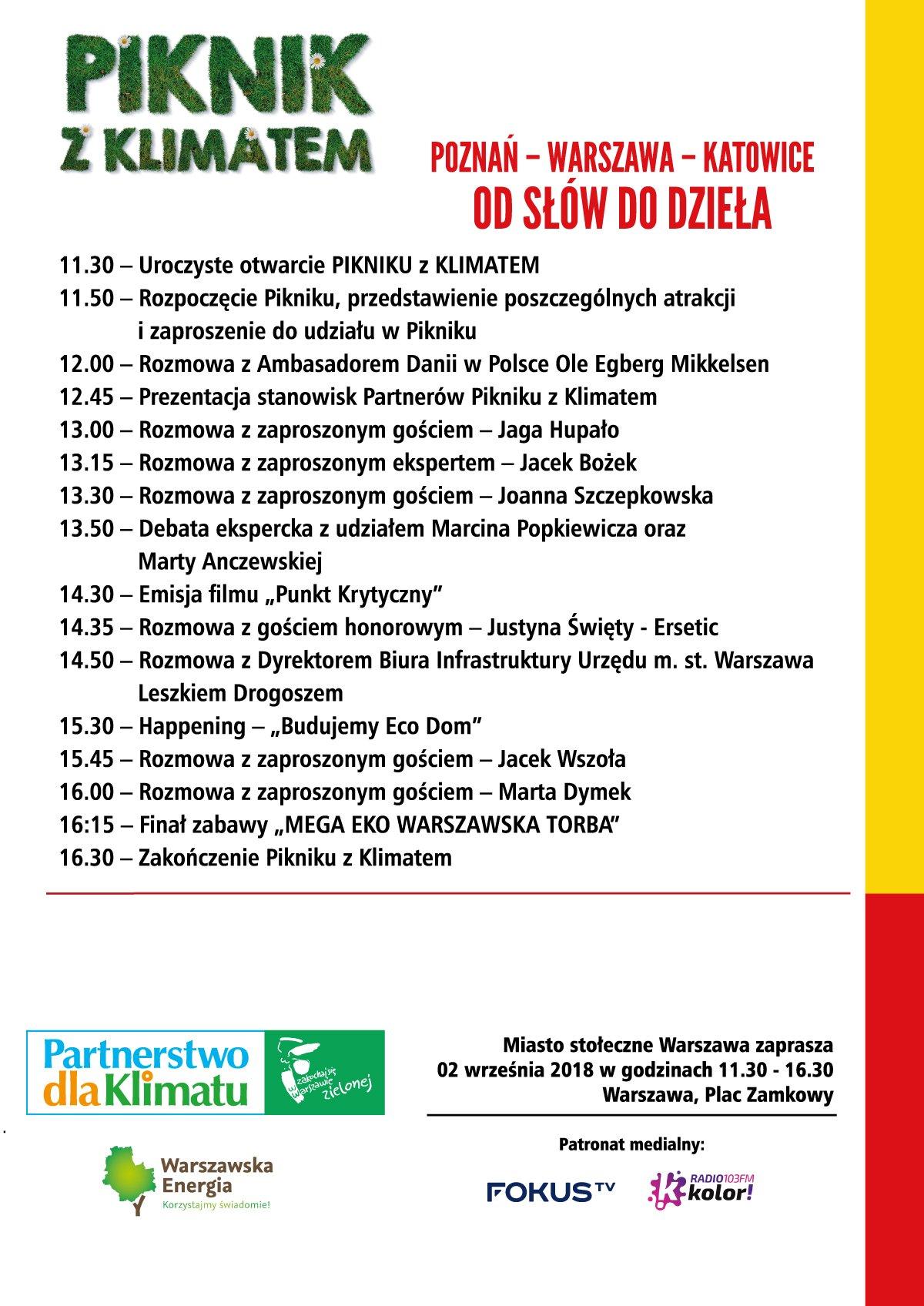 XI edycja Pikniku z Klimatem: Poznań – Warszawa – Katowice – od słów do dzieła - program