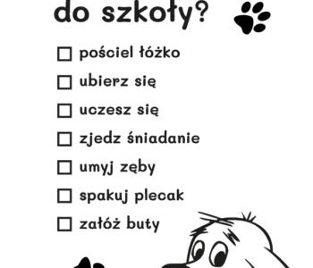 Lista zadań z Cliffordem do pokolorowania - kolorowanka do druku dla dzieci MiastoDzieci.pl