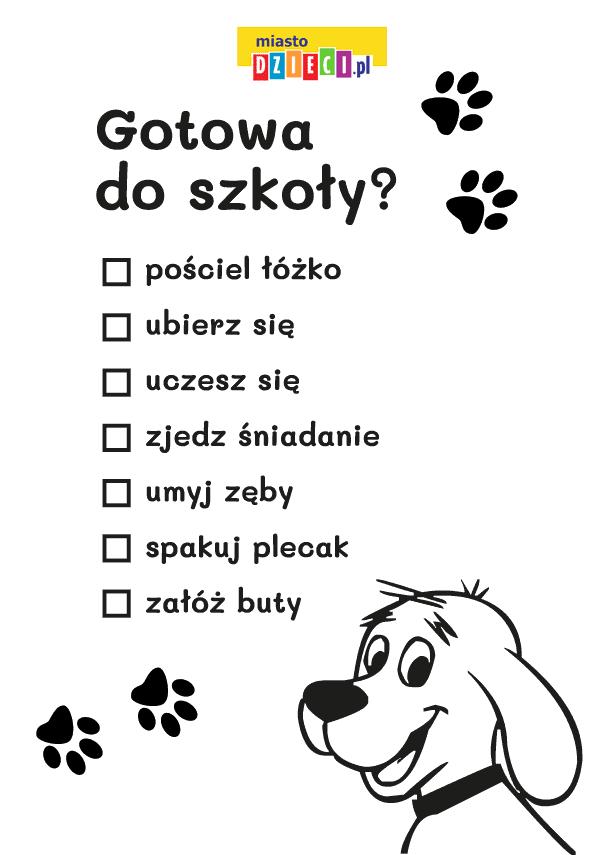 Lista zadań z Cliffordem kolorowanka do druku dla dzieci MiastoDzieci.pl