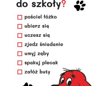 lista czynności z cliffordem szablon do druku dla dzieci MiastoDzieci.pl