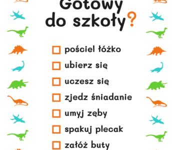 dinozaury, lista zadań kolorowanka do druku dla dzieci