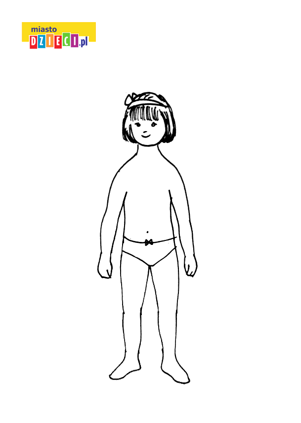mała dziewczynka - ubieranka kolorowanka do druku dla dzieci MiastoDzieci.pl