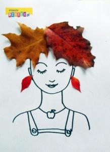 głowa z fryzurą z liści - zabawa dla dzieci