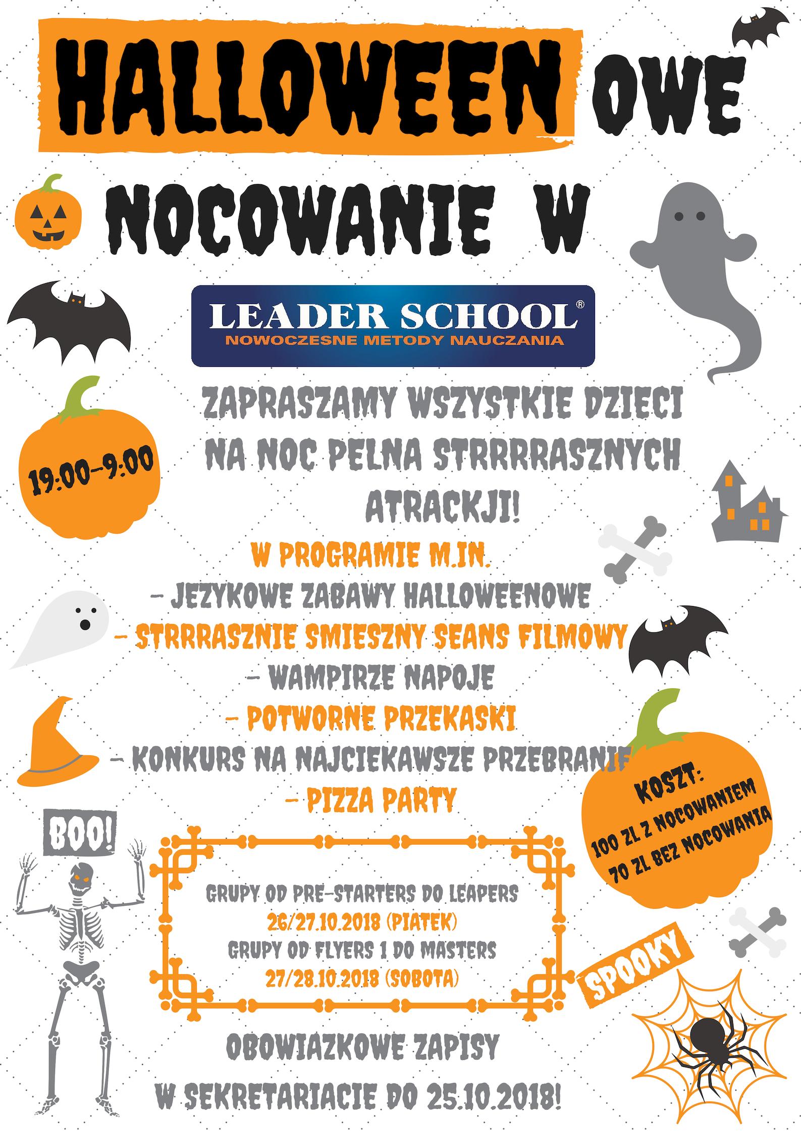 Halloweenowe nocowanie w Leader School