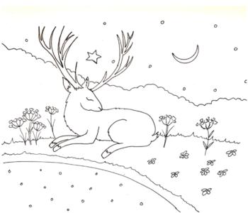 śpiący jeleń - kolorowanka dla dzieci