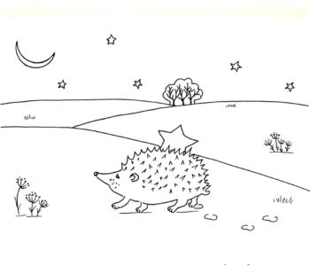 jeż niesie gwiazdkę - kolorowanka