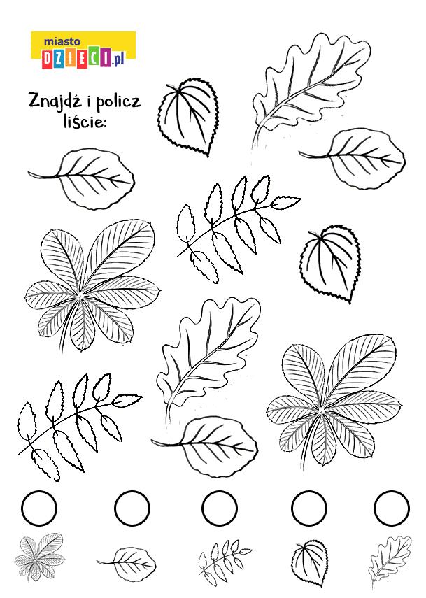 znajdź i policz jesienne liście - zabawa kolorowanka do druku dla dzieci MiastoDzieci.pl