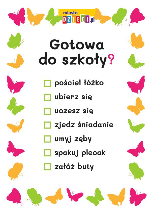 czynności przed wyjściem do szkoły - szablon do druku dla dzieci MiastoDzieci.pl