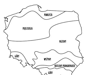 Mapa Polski – podpisane krainy geograficzne