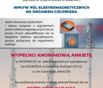 Naukowcy z UJ badają wpływ promieniowania elektromagnetycznego na zdrowie. Oferują bezpłatny pakiet badań