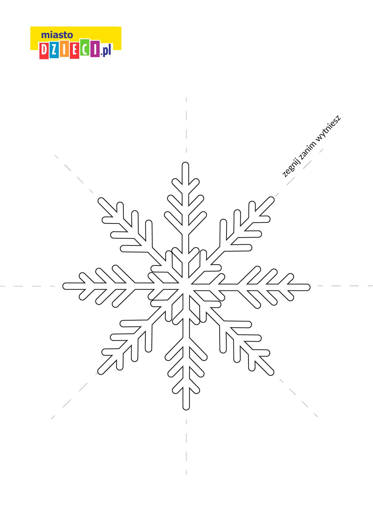 szablon płatka śniegu do druku dla dzieci MiastoDzieci.pl