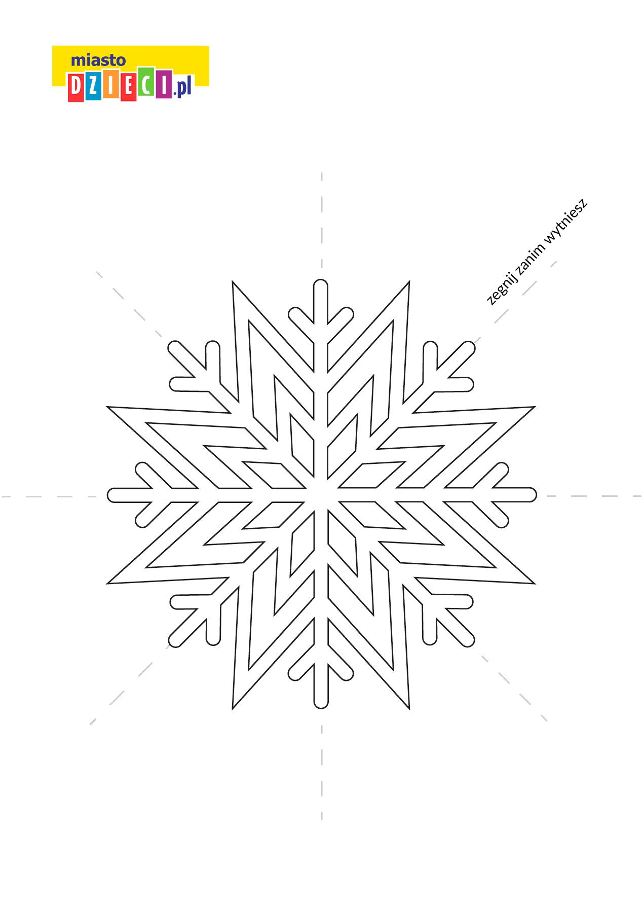 płatek śniegu szablon do druku dla dzieci MiastoDzieci.pl