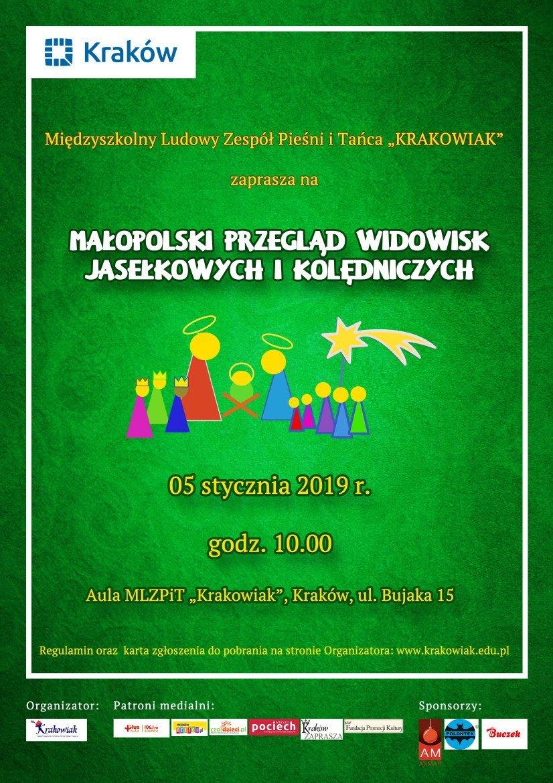 Plakat - małopolski przegląd widowisk jasełkowych i kolędniczych_ 2019_