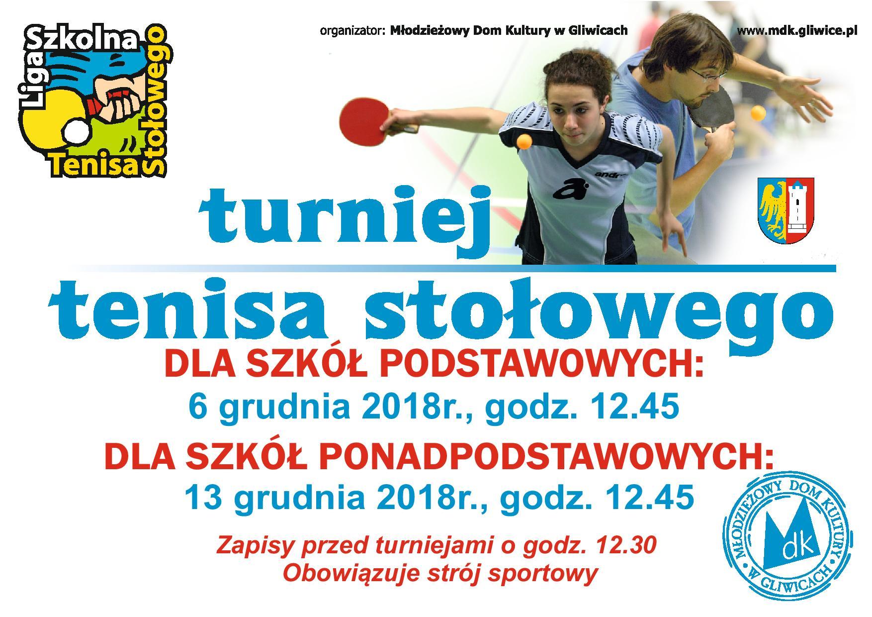 Szkolna Liga Tenisa Stołowego dla szkół podstawowych. Gliwice