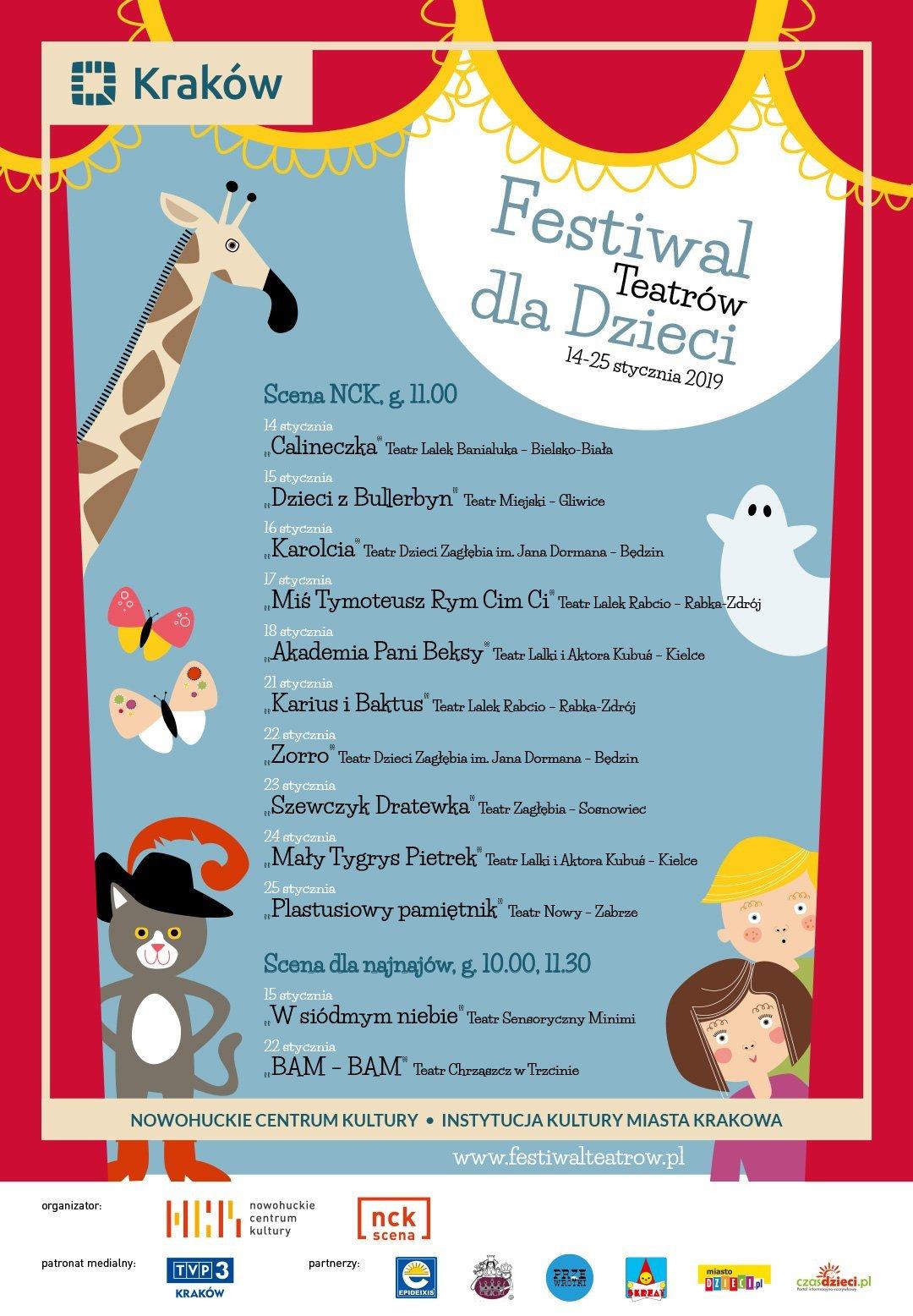 Nawigacja wiadomościWiadomość 1 z 10 Poprzednia Następna change-formatchange-format Temat: Festiwal Teatrów dla Dzieci Kraków 2019