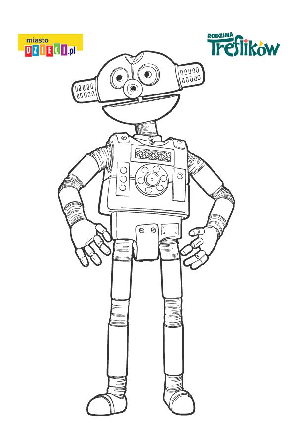 robot z treflików - kolorowanka do druku dla dzieci MiastoDzieci.pl