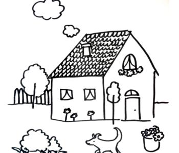 domek - kolorowanka do druku dla dzieci MiastoDzieci.pl