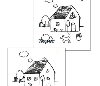 obrazki znajdź różnice - domki kolorowanka do druku dla dzieci MiastoDzieci.pl