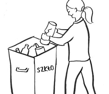 Dziewczynka wyrzuca śmieci