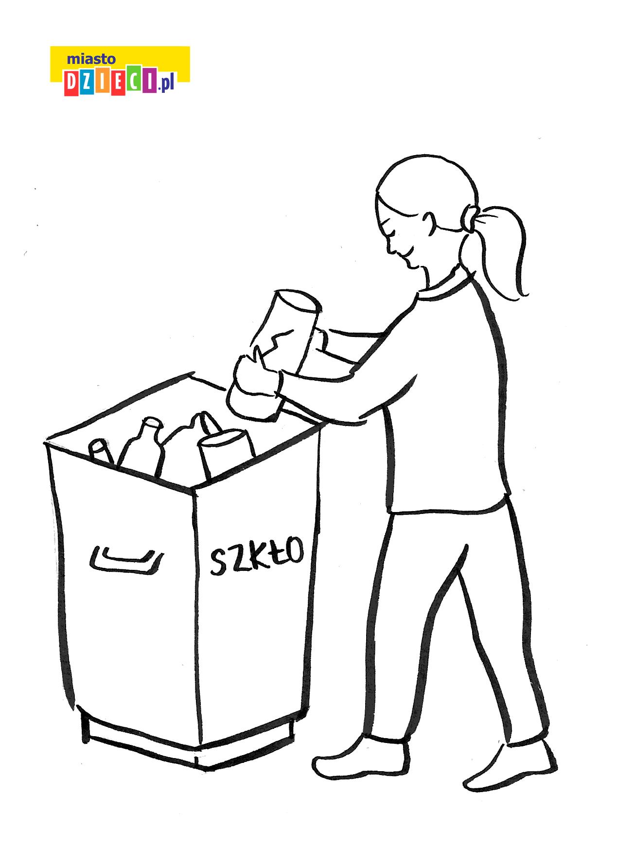 wyrzucamy śmieci - kolorowanka do druku dla dzieci MiastoDzieci.pl