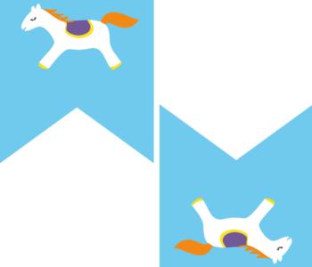 Niebieska girlanda urodzinowa w koniki