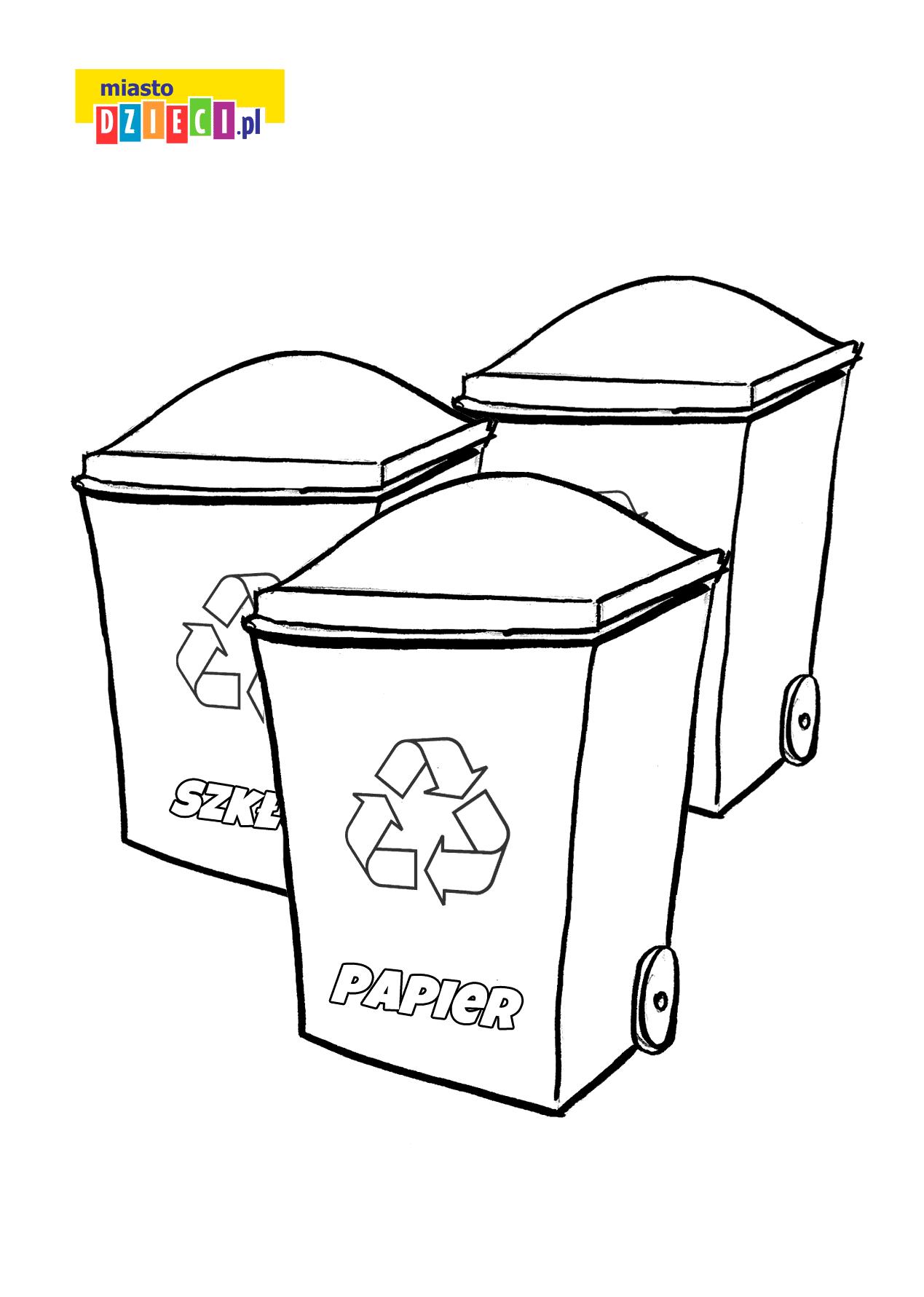 kosze do recyklingu - kolorowanka do druku dla dzieci MiastoDzieci.pl