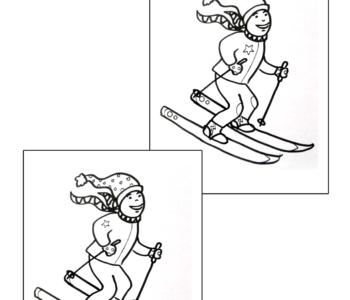 narciarze - znajdź różnice kolorowanka do druku dla dzieci MiastoDzieci.pl
