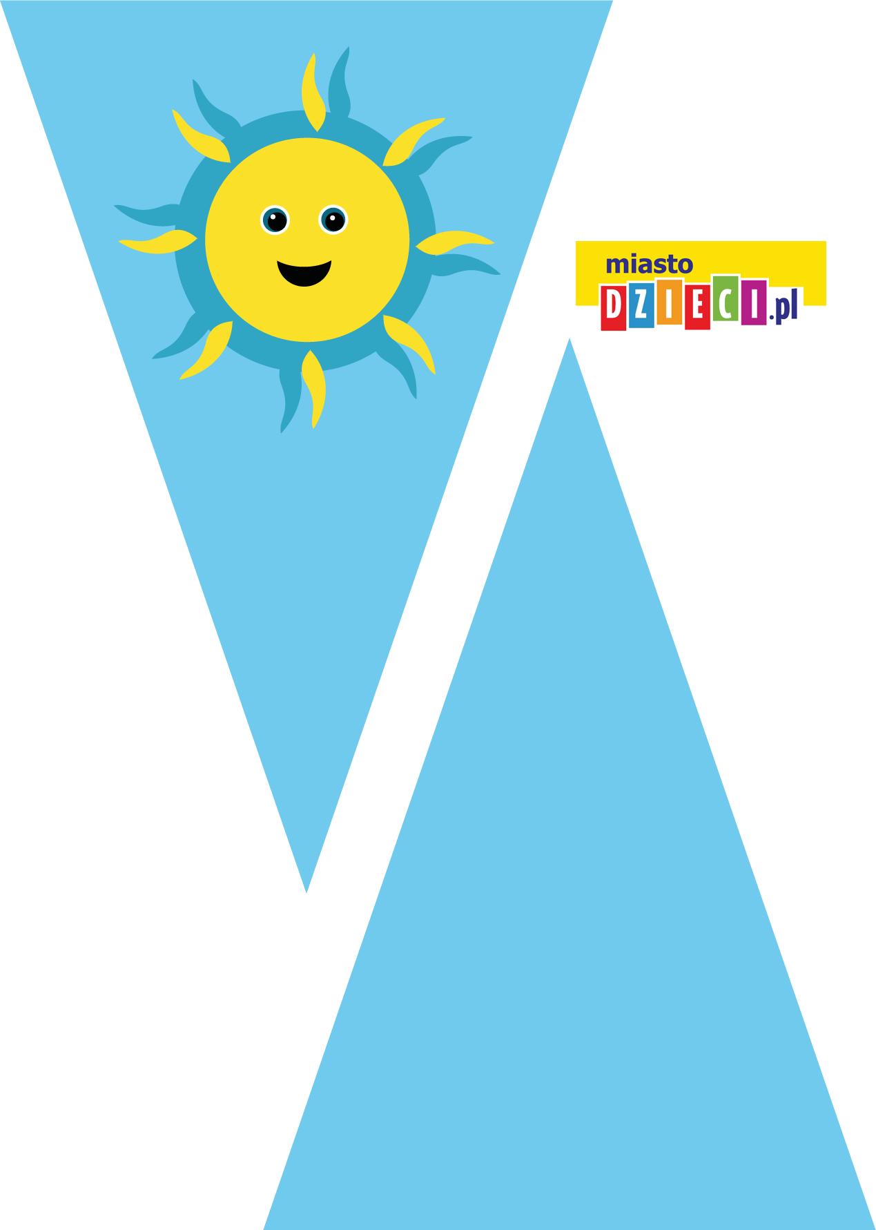girlanda urodzinowa - trójkąty szablony do druku dla dzieci MiastoDzieci.pl