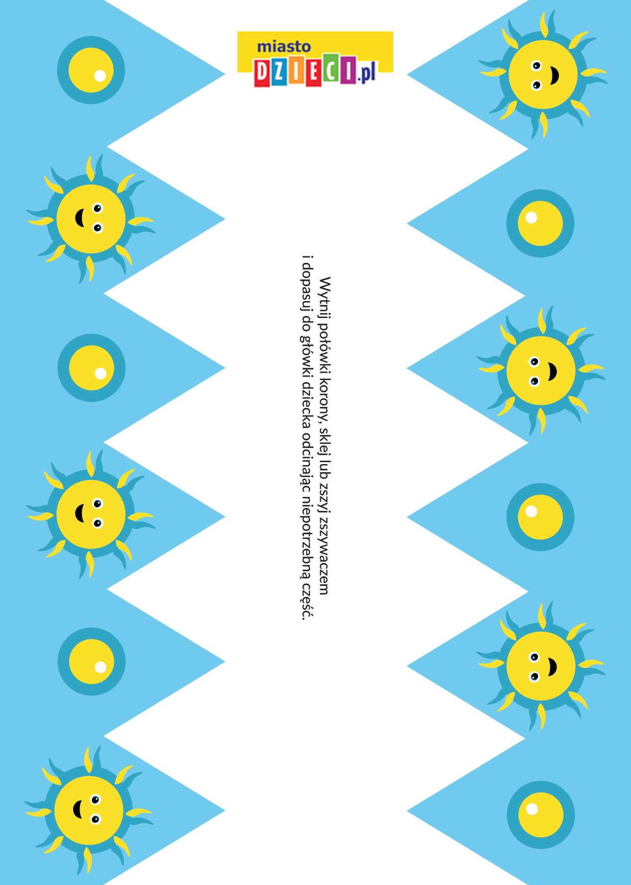 korona urodzinowa w słoneczka - szablon do druku szablony do druku dla dzieci MiastoDzieci.pl