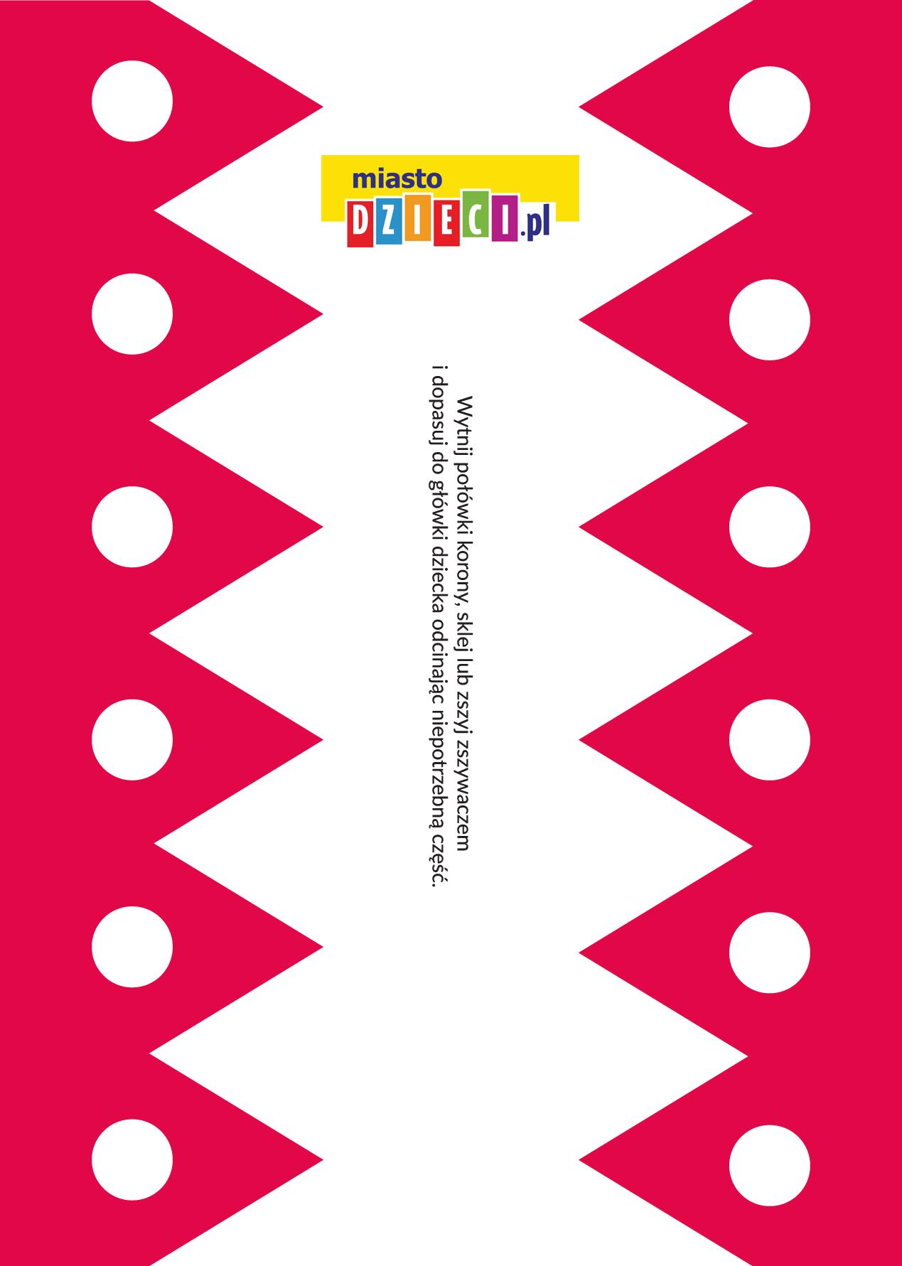 czerwona korona dla dziecka - szablon bezpłatny szablony do druku dla dzieci MiastoDzieci.pl