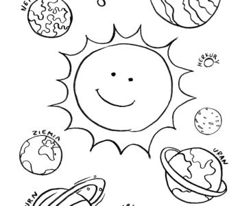 Słońce i planety kolorowanki i szablony do druku dla dzieci MiastoDzieci.pl