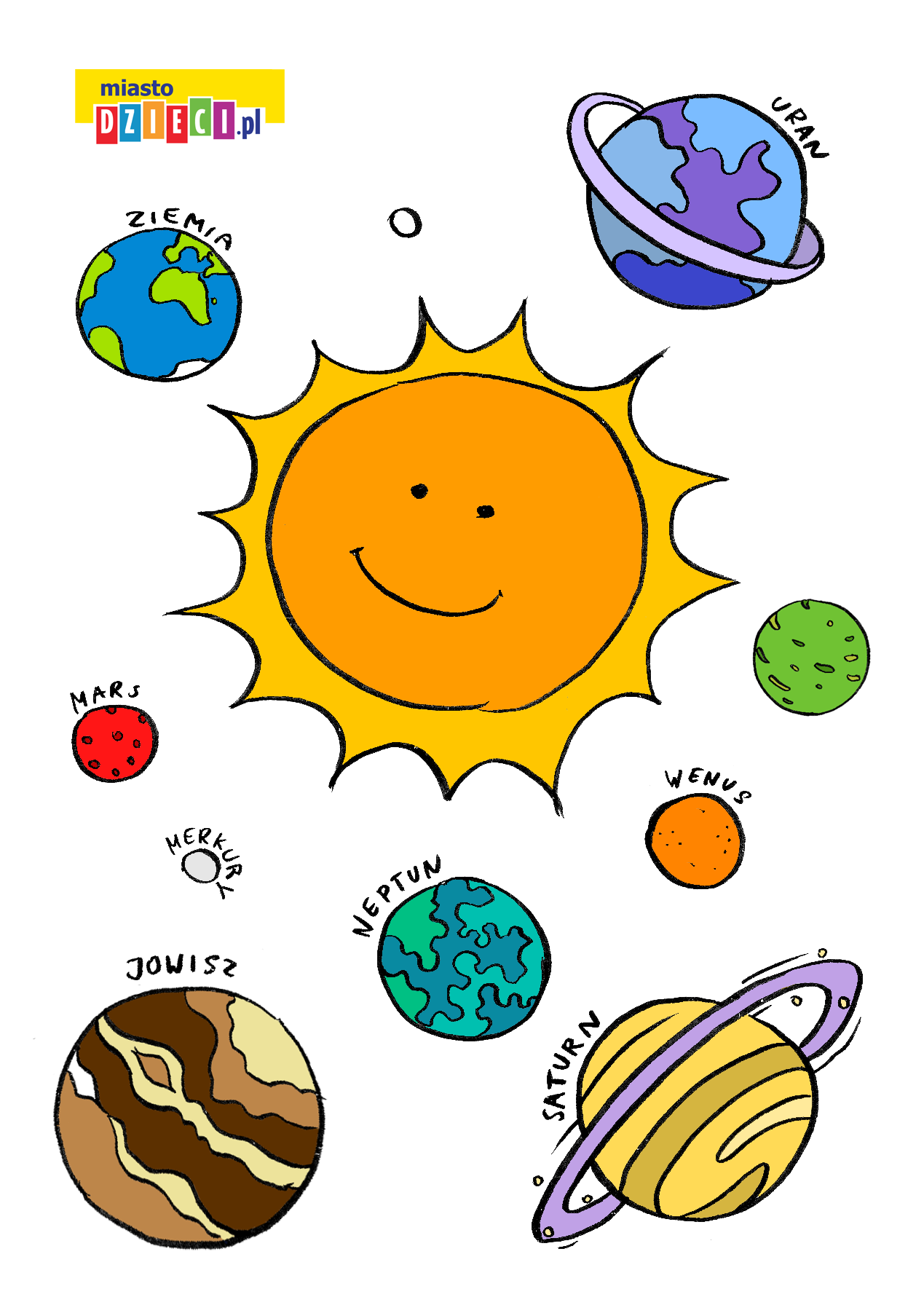 Słońce i planecie do wycinania szablony do druku dla dzieci MiastoDzieci.pl