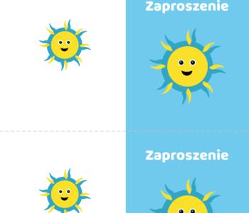 zaproszenia na urodziny dziecka - słoneczka szablony do druku dla dzieci MiastoDzieci.pl