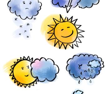 pogoda - emocje - karta pracy kolorowanki i szablony do druku dla dzieci MiastoDzieci.pl