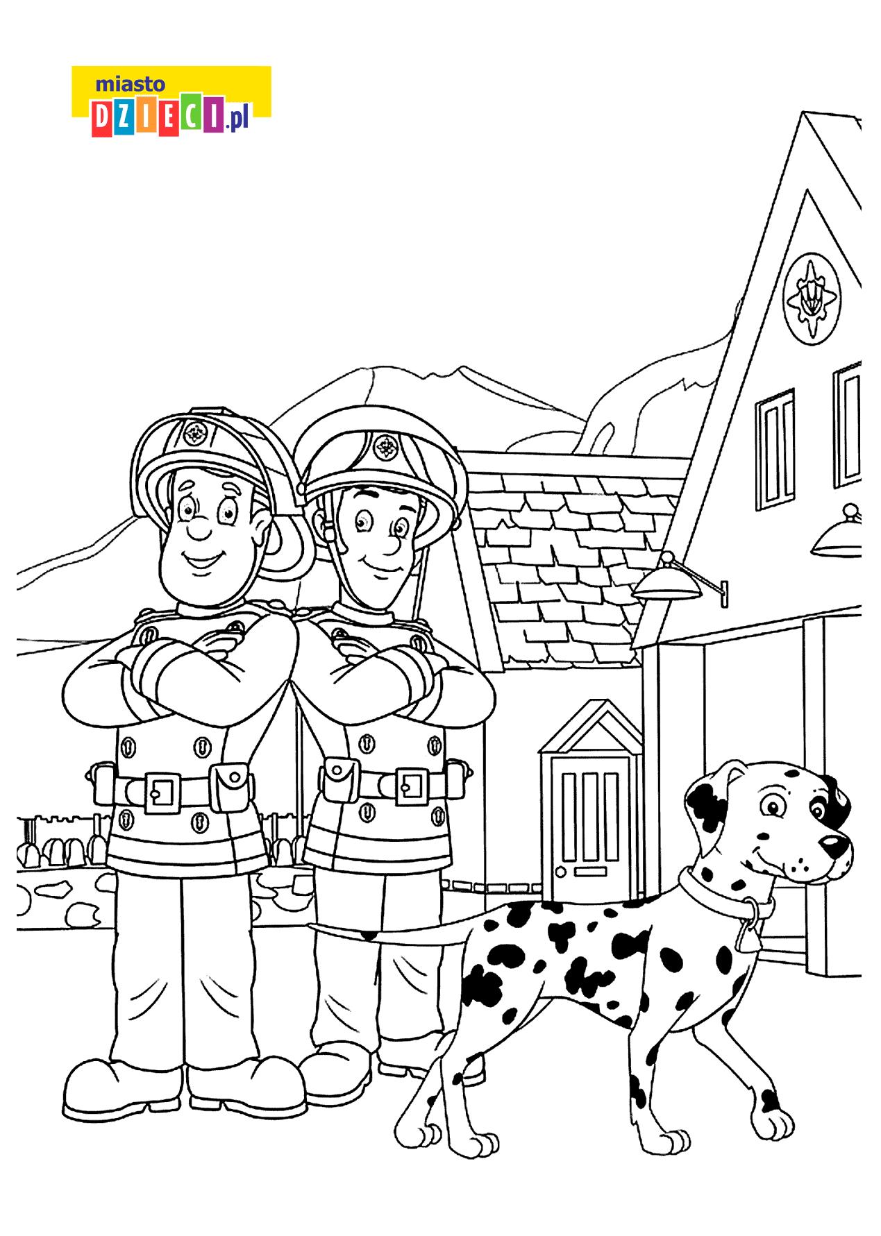 Strażak Sam i jego przyjaciel Elvis Cridlington kolorowanki i szablony do druku dla dzieci MiastoDzieci.pl