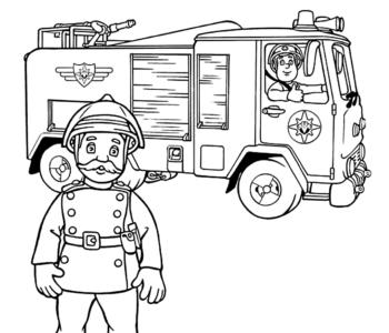 Komendant Norris Steele i Strażak Sam w samochodzie